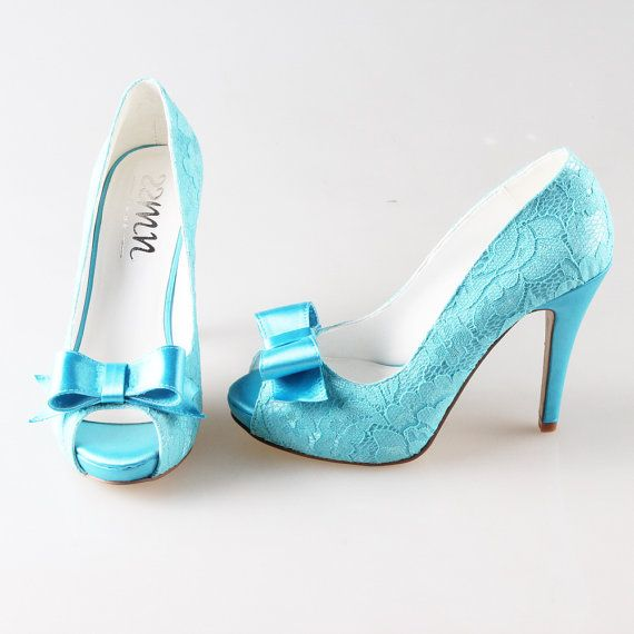 Turquoise aqua lace bow shoes wedding party shoes by Creativesugar ... d288e250ac49