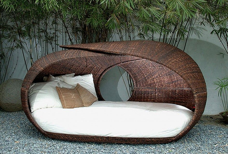 Patio Modern Wicker Outdoor Daybed With Canopy Unusual Furniture White Mattress Cover Pillow Brown