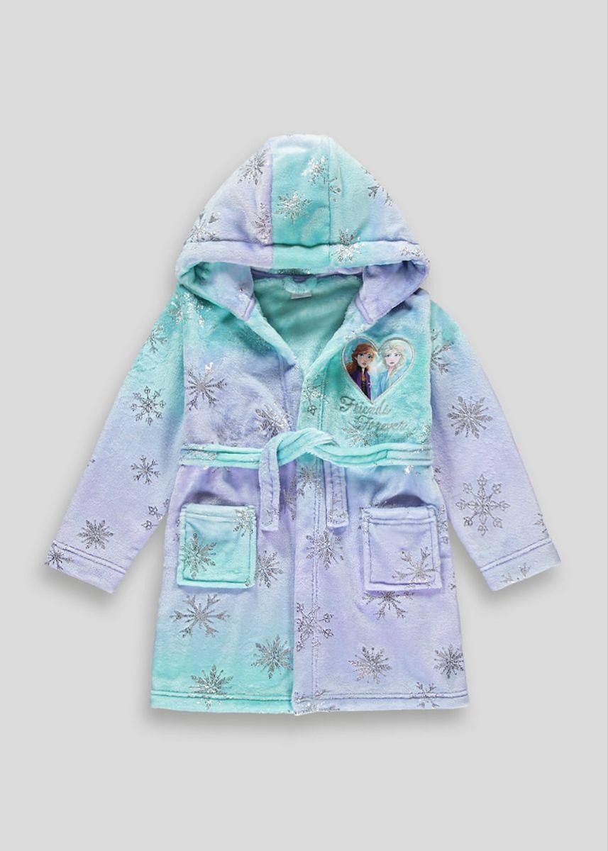 Hooded Girls Robe Disney Frozen Elsa /& Anna Lilac Gown Soft Fleece Bathrobe