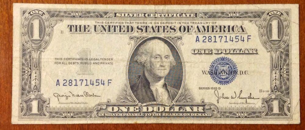 1935 d $1 silver certificate blue seal a 28171454 f | MONEY MONEY ...
