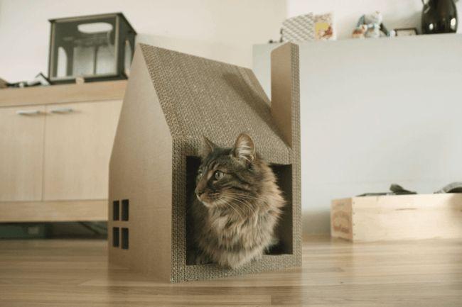 kratzbaum wohnung katzenhaus aus karton animals pinterest cat houses scratching post. Black Bedroom Furniture Sets. Home Design Ideas