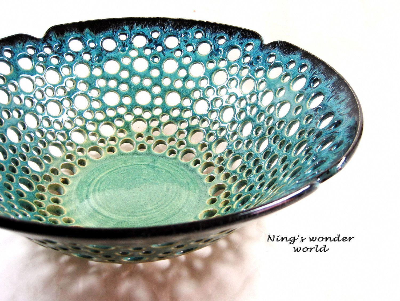 Pottery fruit bowl ceramic fruit bowl lace design large for Cool pottery designs