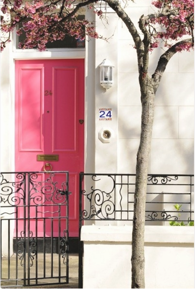 perfect pink door bordered by a blooming tree...beautiful!