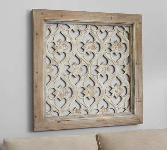Wooden Wall Art Panels hempstead carved wood wall art panel | pottery barn | for the home