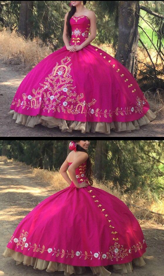 259a78b35 Vestido de quinceañera estilo charro de Pink Horses