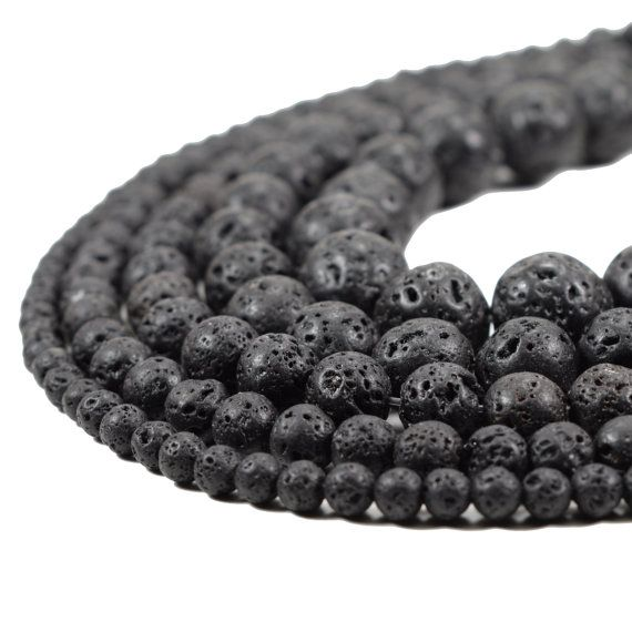 Wholesale Natural Stone Volcano Lava Round Loose Beads For Jewelry Making 8MM