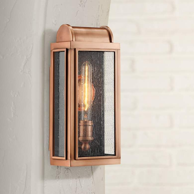 Quoizel Danville 14 1 2 High Aged Copper Outdoor Wall Light 46c06 Lamps Plus Copper Wall Light Outdoor Wall Lighting Metal Wall Light