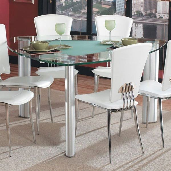 20 Softly Shaped Curves Of Triangular Dining Tables Home Design Lover Tall Dining Table Glass Dining Room Table Dining Room Table Set