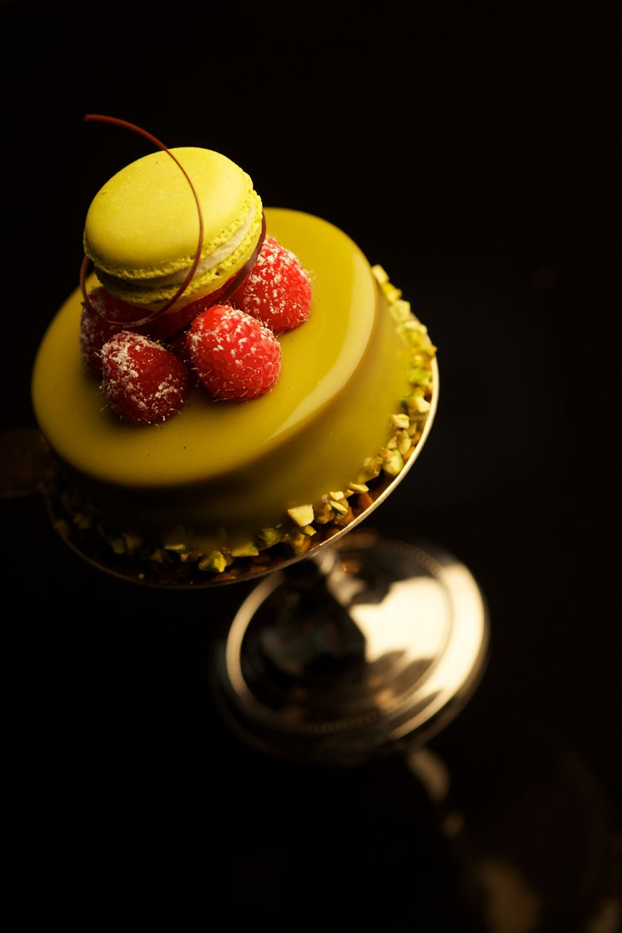 Pistachio Bavarian with Raspberry Gelee and Pistachio Cake topped with Pistachio Macaroon