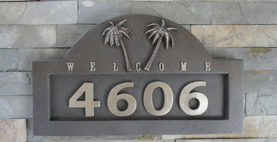Tropical Palms Address Plaque House Numbers Sign Beach Cottage