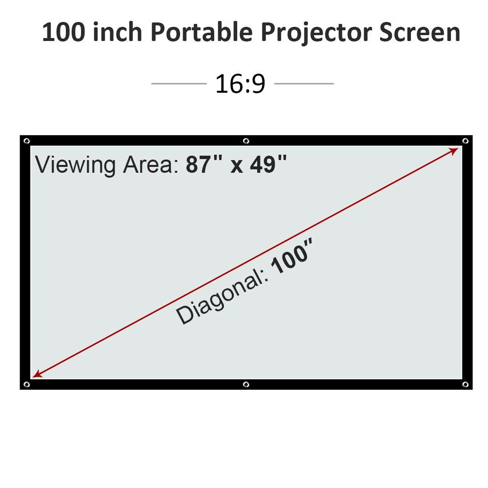 Wikish 100 Inch Projector Screen 100 Portable Anticrease Foldable Indoor Outdoor Projectio 100 Inch Projector Screen Portable Projector Screen Projector Screen
