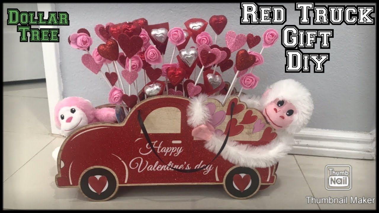 Dollar Tree Valentine S Gift Diy Red Truck Gift Idea Valentines Day Gift Basket Under 10 Valentine S Day Gift Baskets Valentine Gift Baskets Truck Gifts