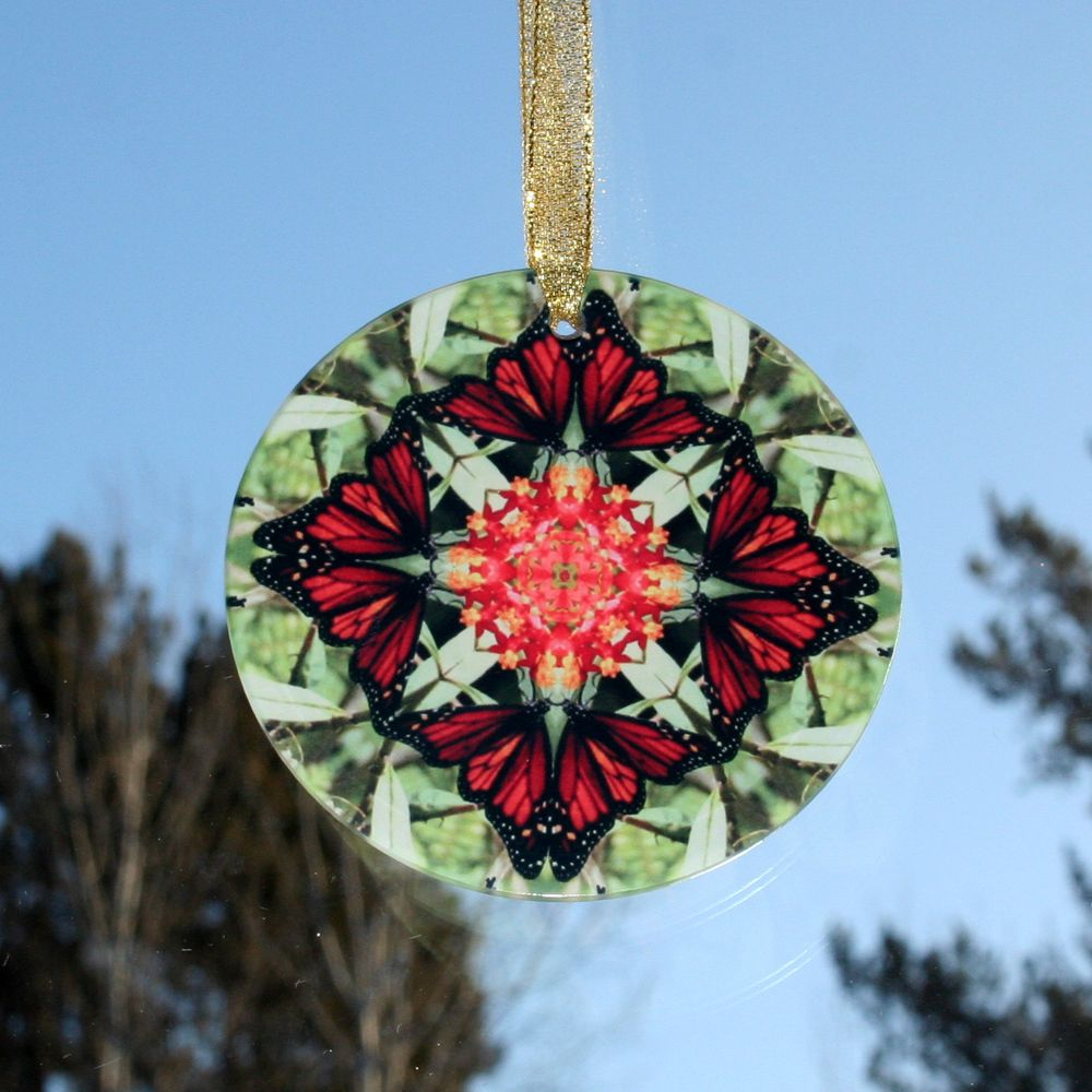 Sacred Geometry Patio Decor Glass Suncatcher Decor BUTTERFLY Home Ornament Garden Art Mandala Suncatcher Gifts For Mom Boho Mandala Decor