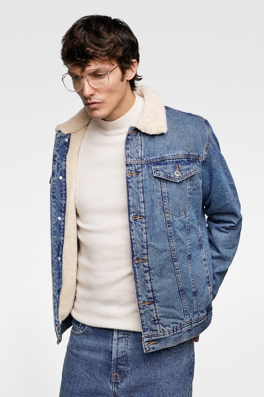 Zdjecie 2 Kurtka Jeansowa Ze Sztucznym Barankiem Z Zara Fleece Denim Jacket Jackets Men Fashion Cargo Jacket Mens [ 1536 x 1024 Pixel ]