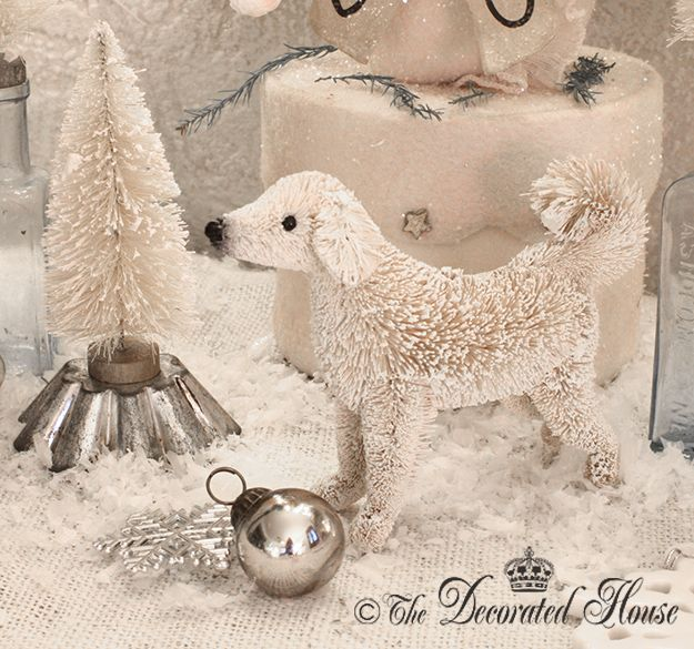 Pottery Barn Bottle Brush Lab Dog Ornament 2012 At The