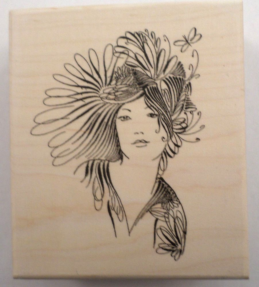 STAMPINGTON AND CO LADY OF GRACE WHIMSICAL WOMAN WOOD MOUNT RUBBER STAMP #S7354  C$15