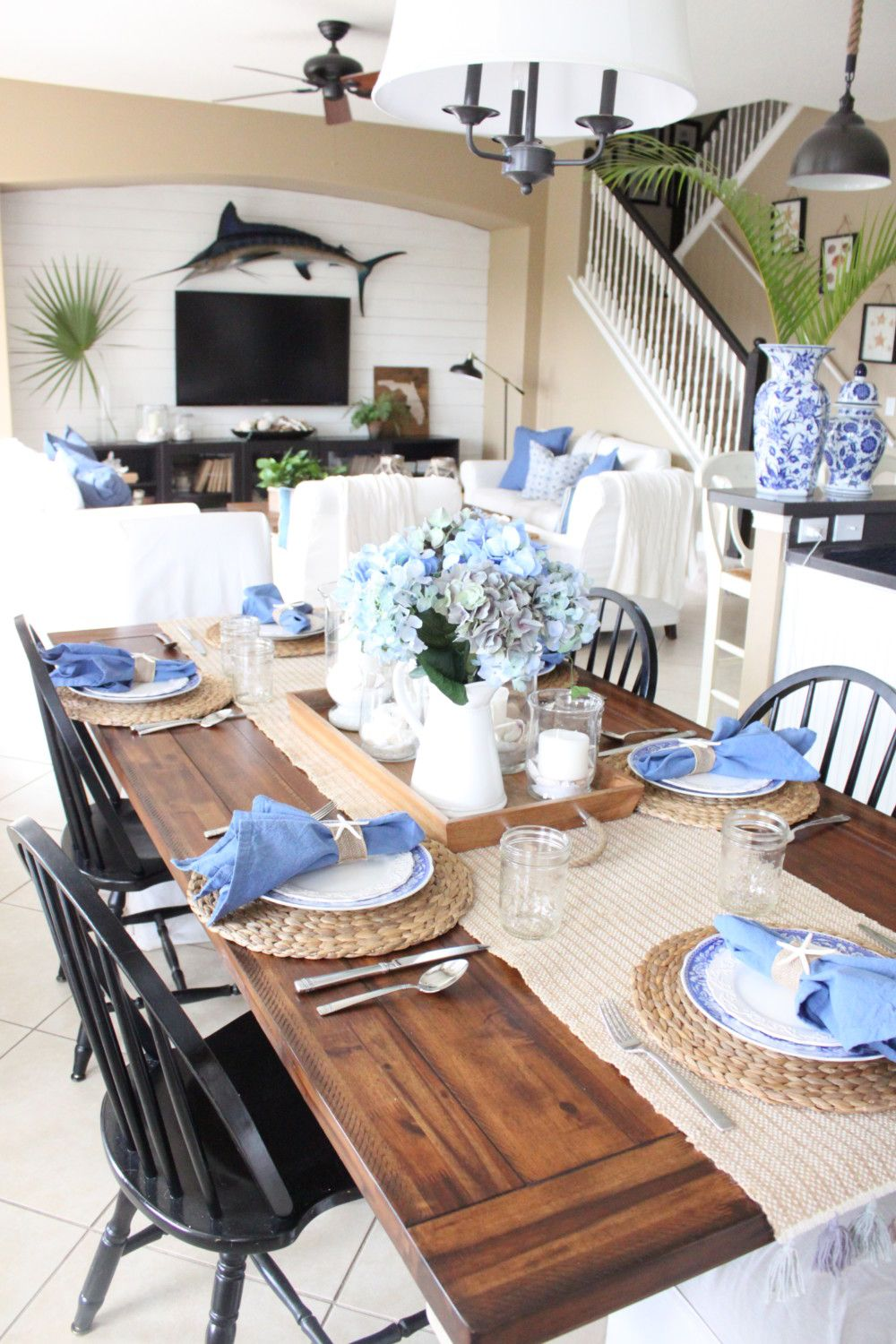 Blue and White Kitchen Table | Home, Table decorations ...