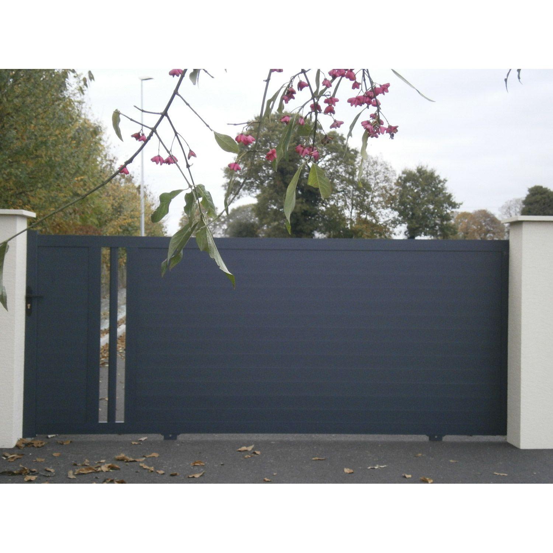 Portail Coulissant Aluminium Ceres Gris L 348x H 150 Cm Portail Coulissant Portail Tendances Jardin