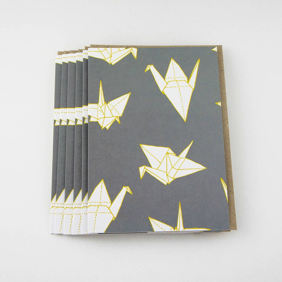 Set of six origami crane greetings cards origami cranes and set of six origami crane greetings cards m4hsunfo