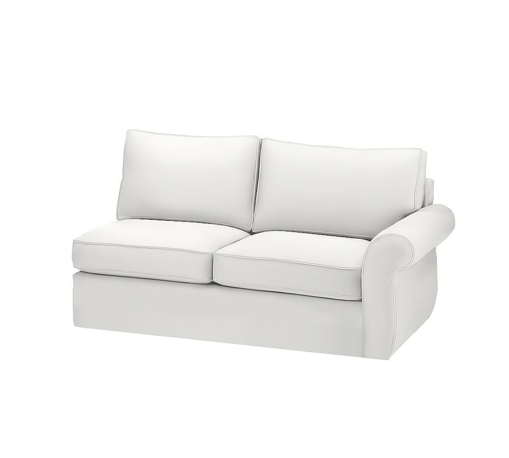 Pearce Slipcovered Left Arm Love Seat Down Blend Wrapped Cushions Sunbrella R Performance Sahara Weave Oatmeal At Pottery Barn Furniture Pottery Barn Furniture Sectional Slipcover Slipcovers