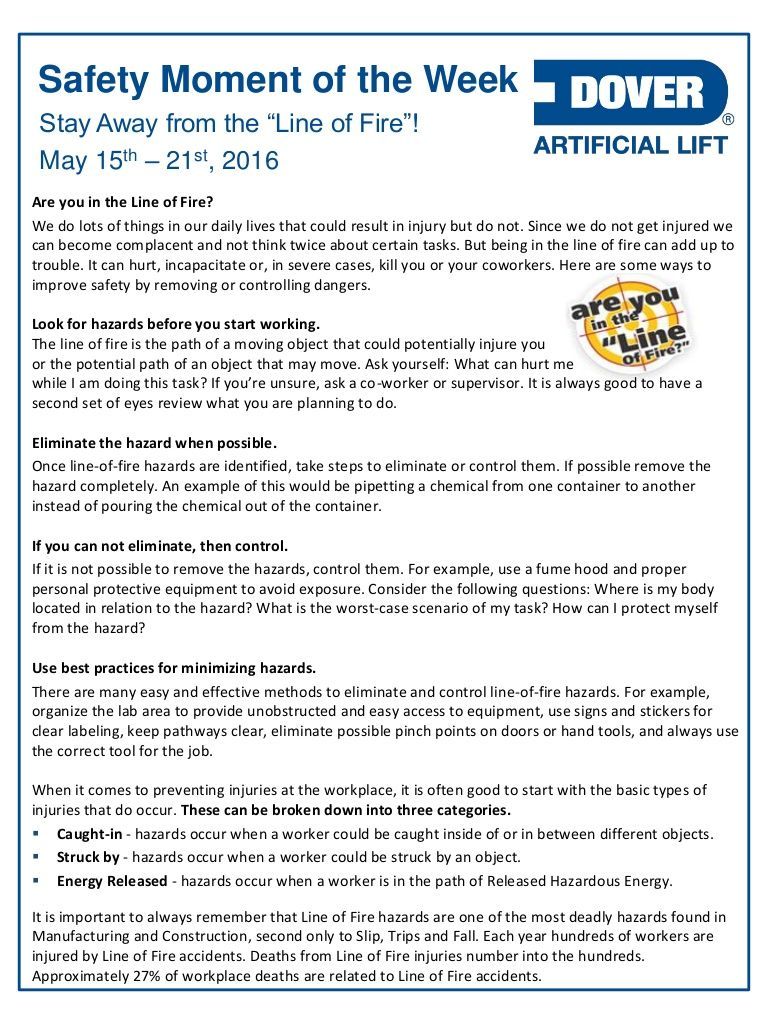 Dover als safety moment of the week 16may2016 safety