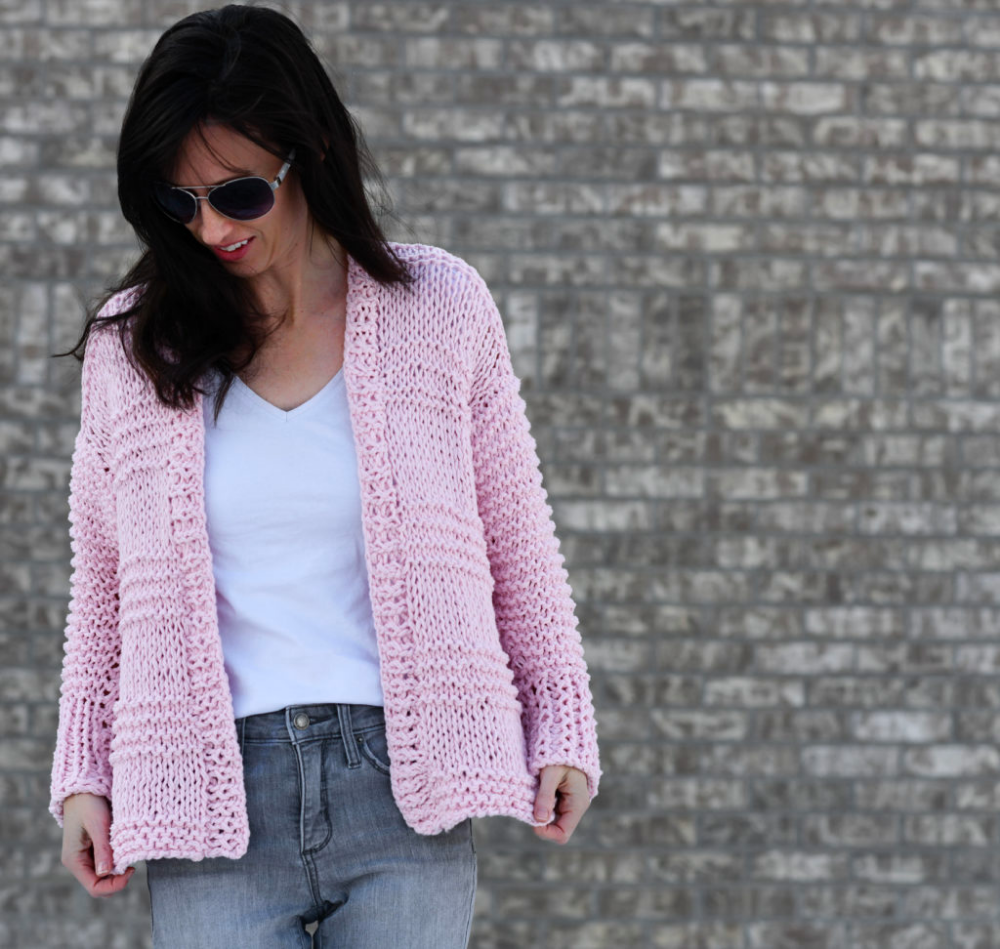 Cotton Candy Easy Knit Cardigan Pattern in 2020 | Knit