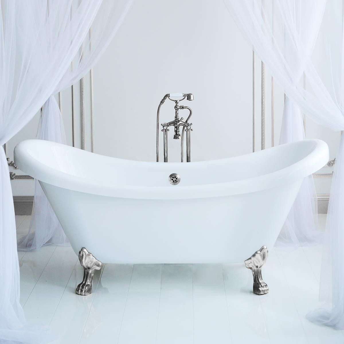 Florence 70 Inch Acrylic Double Slipper Clawfoot Tub No