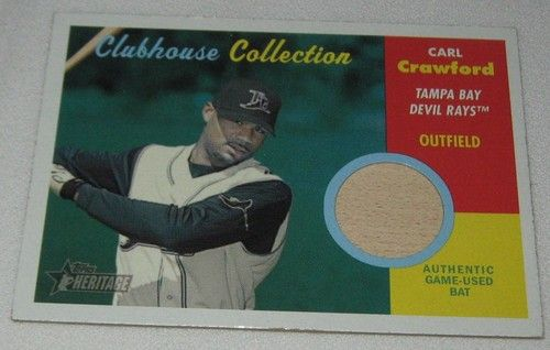 Carl Crawford 2006 Topps Heritage Clubhouse Game Used Bat Relic
