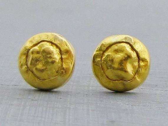 24k Gold Studs Earrings Pure Post