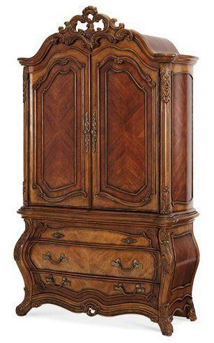 """Palais Royale Armoire by Aico Furniture. $2948.00. The Palais Royale Armoire by Aico Furniture is reminiscent of the elaborate detailing of the classic French Rococo styling with its intricate veneer work, undulating curves and exuberant floral embellishments. French Rococo came to creation during the late 17th and late 18th centuries, with the word originating from a combination of the French word """"rocaille,"""" or shell, and the Italian """"barocco,"""" or Baroque style. It is most ..."""