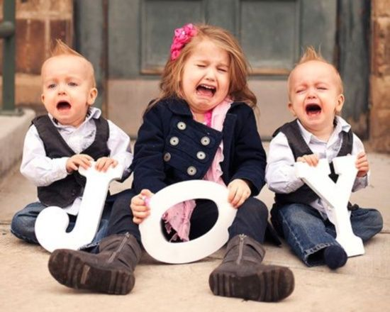 funny photo 3 crying children holding the word joy | Laugh, Kids, Bones funny
