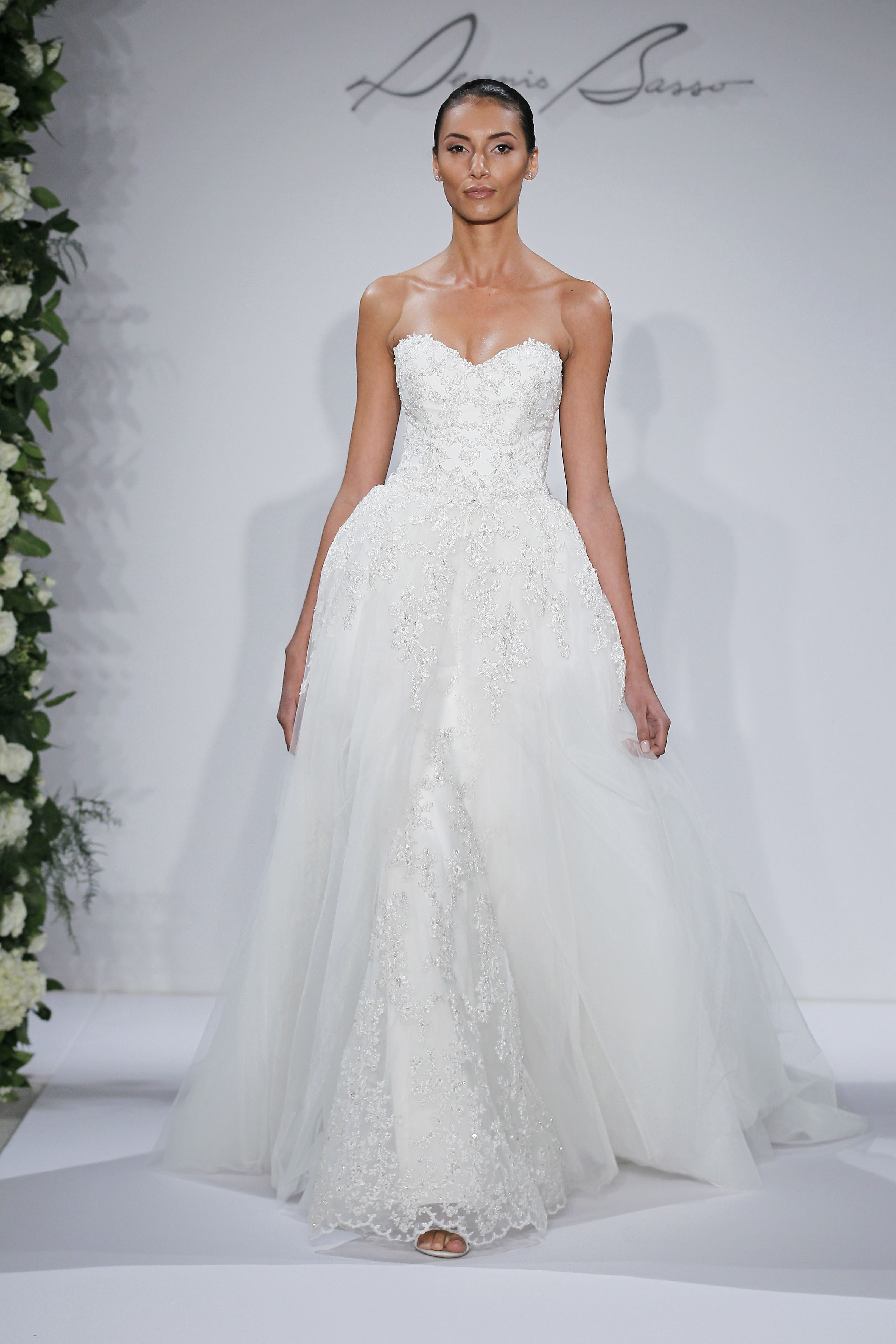Style 14044 - Ivory strapless beaded and embroidered tulle sheath gown with removable tulle lined poof skirt, lace scallop edge detail at hem