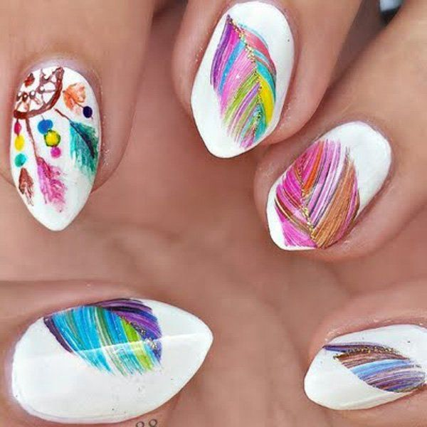 40 examples of feather nail art dream catcher nails feather 40 examples of feather nail art prinsesfo Images