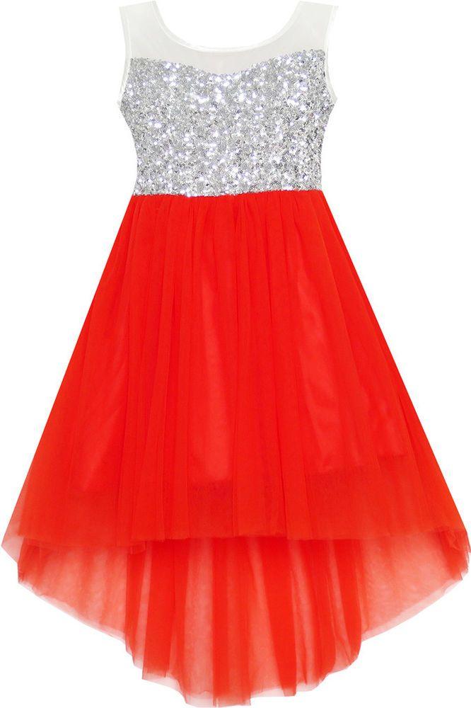bad0201d16334f Mädchen Kleid Pailletten Masche Party Hochzeit Prinzessin Tüll rot ...
