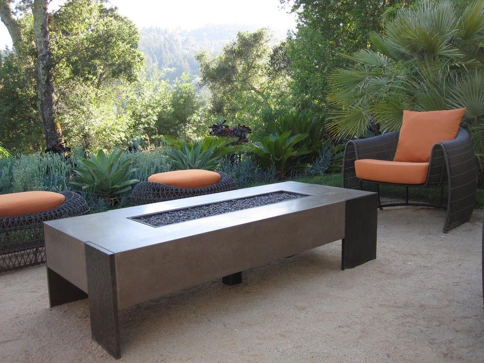 Sumptuous Gel Fuel Fireplace In Patio Contemporary With Laguna Concrete Fire  Table Next To Lu0027