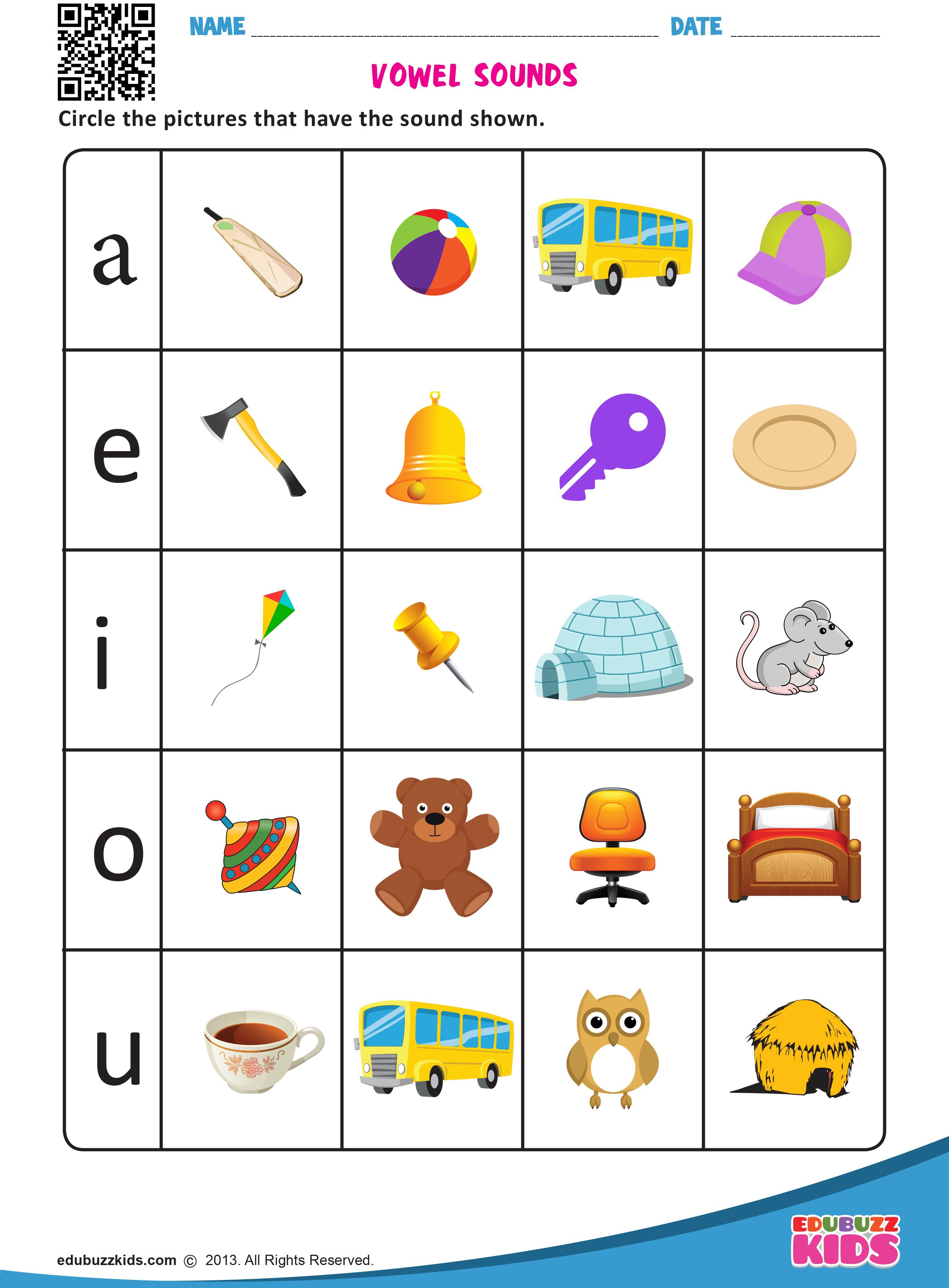 Vowel Sounds Worksheets For Preschool And Kindergarten