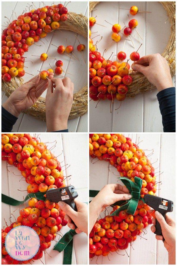 DIY - Jesienny wieniec z rajskich jabłek - Lawendowy DomLawendowy Dom