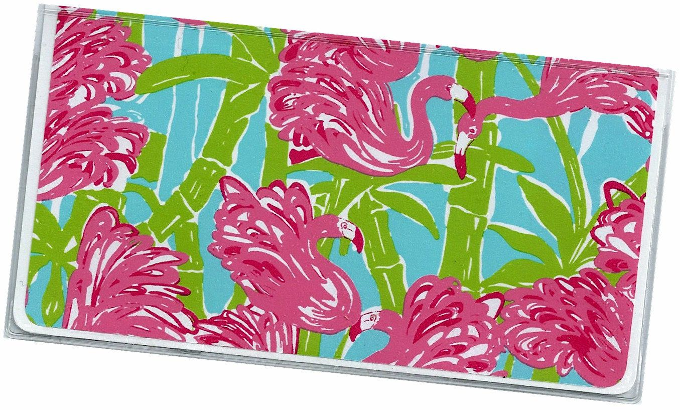 Checkbook Cover - Fan Dance Blue Green Pink Flamingos check book cover 9a