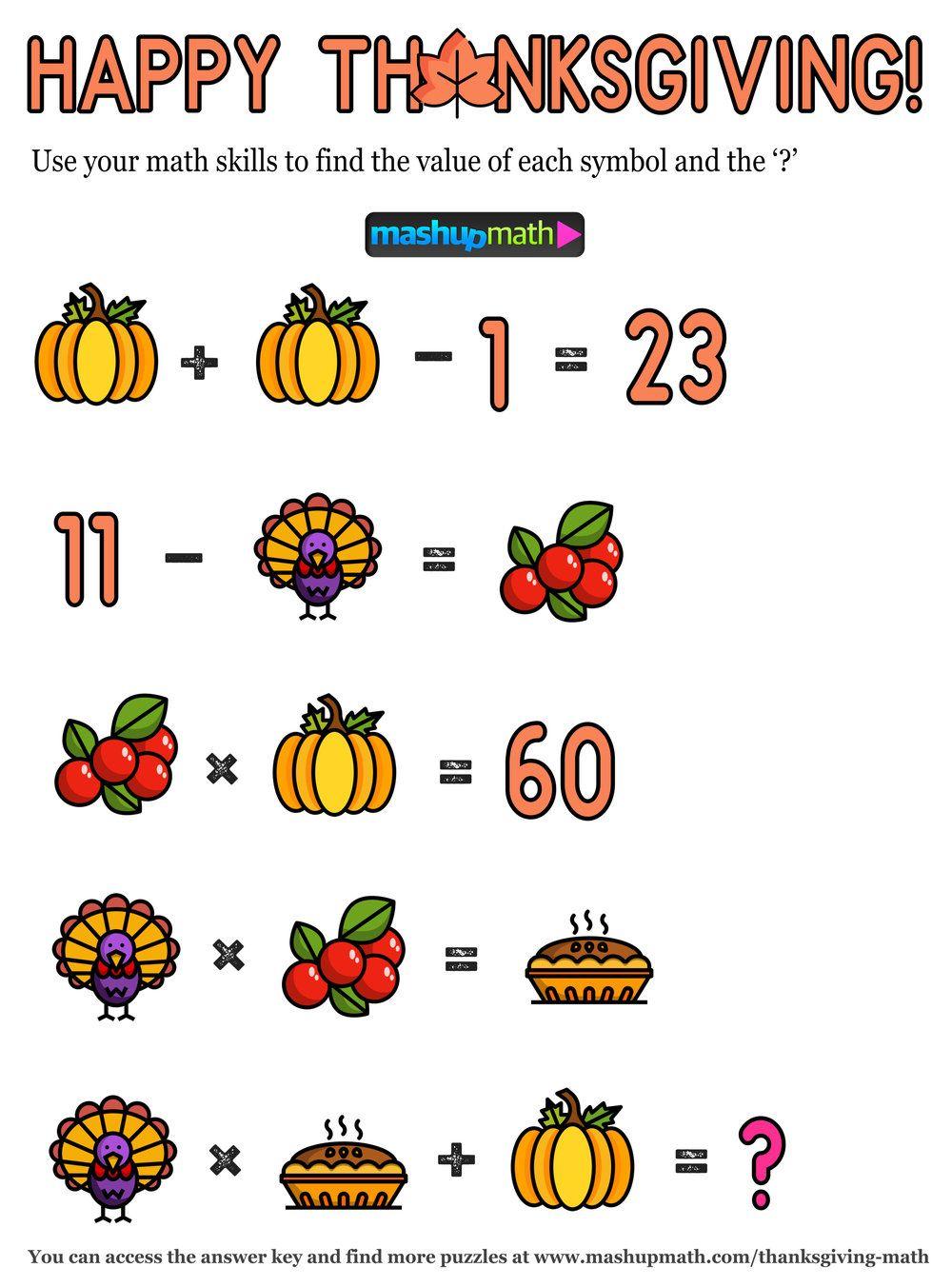 12 Thanksgiving Math Activities For Grades 1 8 Mashup Math Thanksgiving Math Worksheets Thanksgiving Math Thanksgiving Math Activities