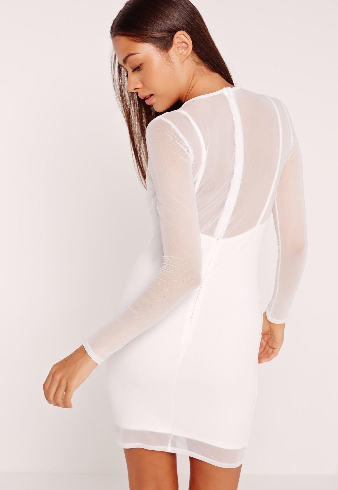 Missguided long sleeve mesh overlay harness dress white slaying