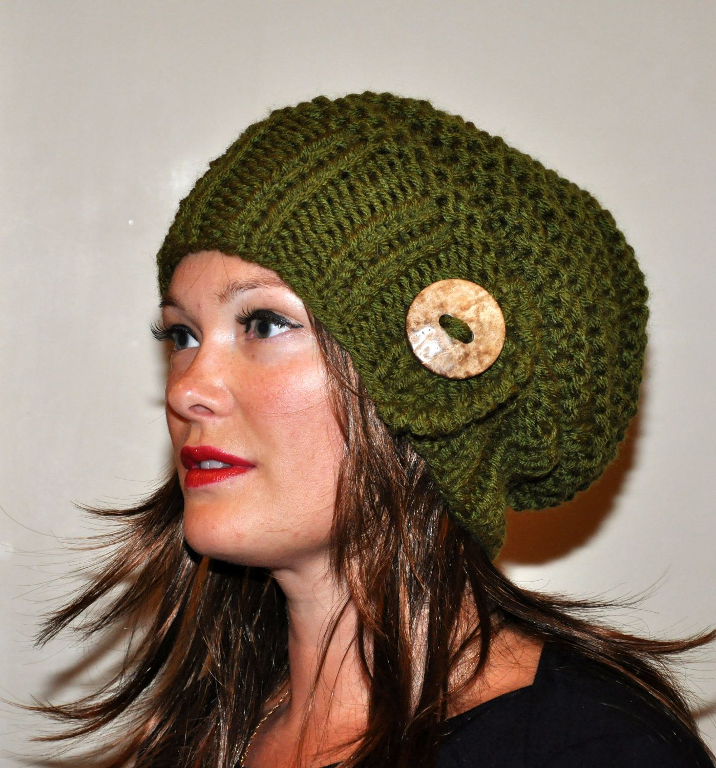 Slouch Beanie Slouchy Hat Button Hand Knit Winter Adult by lucymir ... 06798445979
