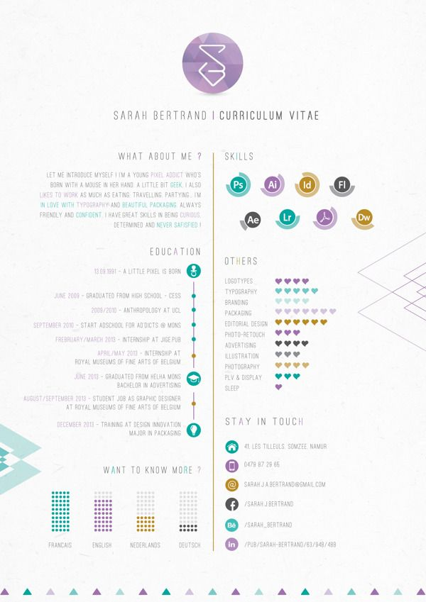 Self Promotion \/ Resume 20 by Sarah Bertrand, via Behance - graphic design student resume