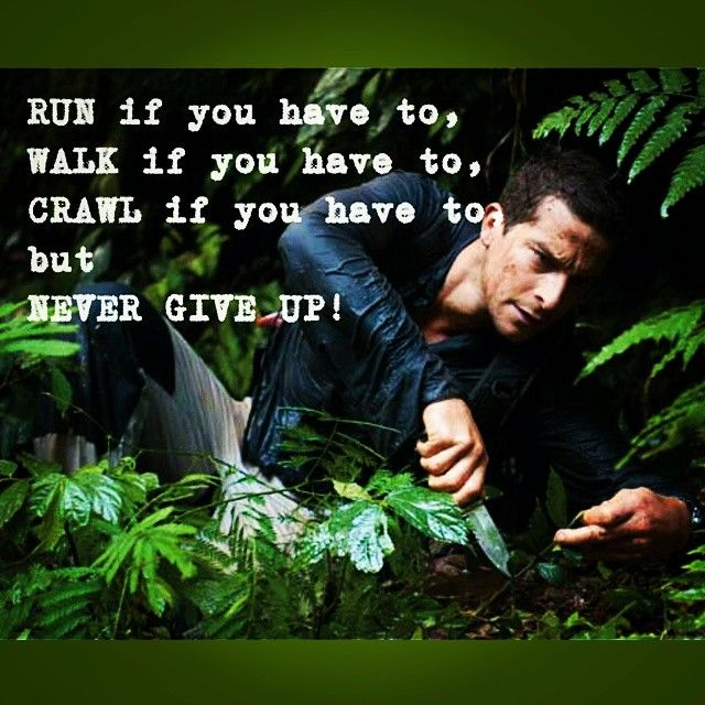 """""""Run if you have to, walk if you have to, crawl if you have to but never give up."""" #bginspiration #beargrylls #inspirationalquotes @KarinaReissman http://www.beargryllsonline.com/bginspiration/"""