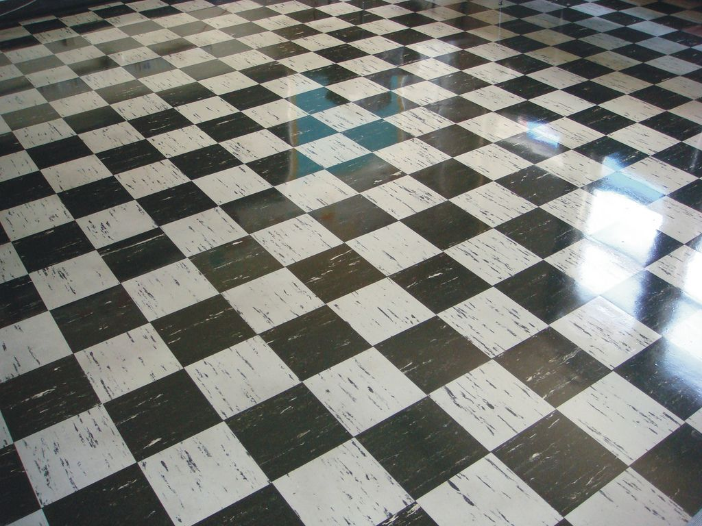 Vintage Asbestos 9x9 Floor Tile Checker Pattern Chess