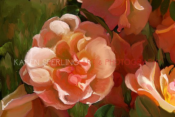 Impressionist Flowers Giclee Art Print Wall Decor by KarenSperling