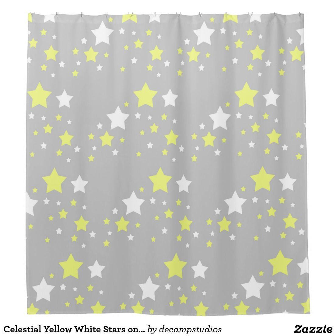 Celestial yellow white stars on grey gray shower curtain shower