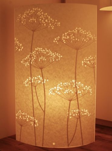 Hannah Nunn's lamp is inspired by hedgerows and summer meadows this Cow Parsley design is one of my favourites. The light shines through the tiny flowers, illuminating each one like it's bathed in the summer sun...and what a great silhouette the stem makes! This floor lamp is 58cm high and 35 cm wide.