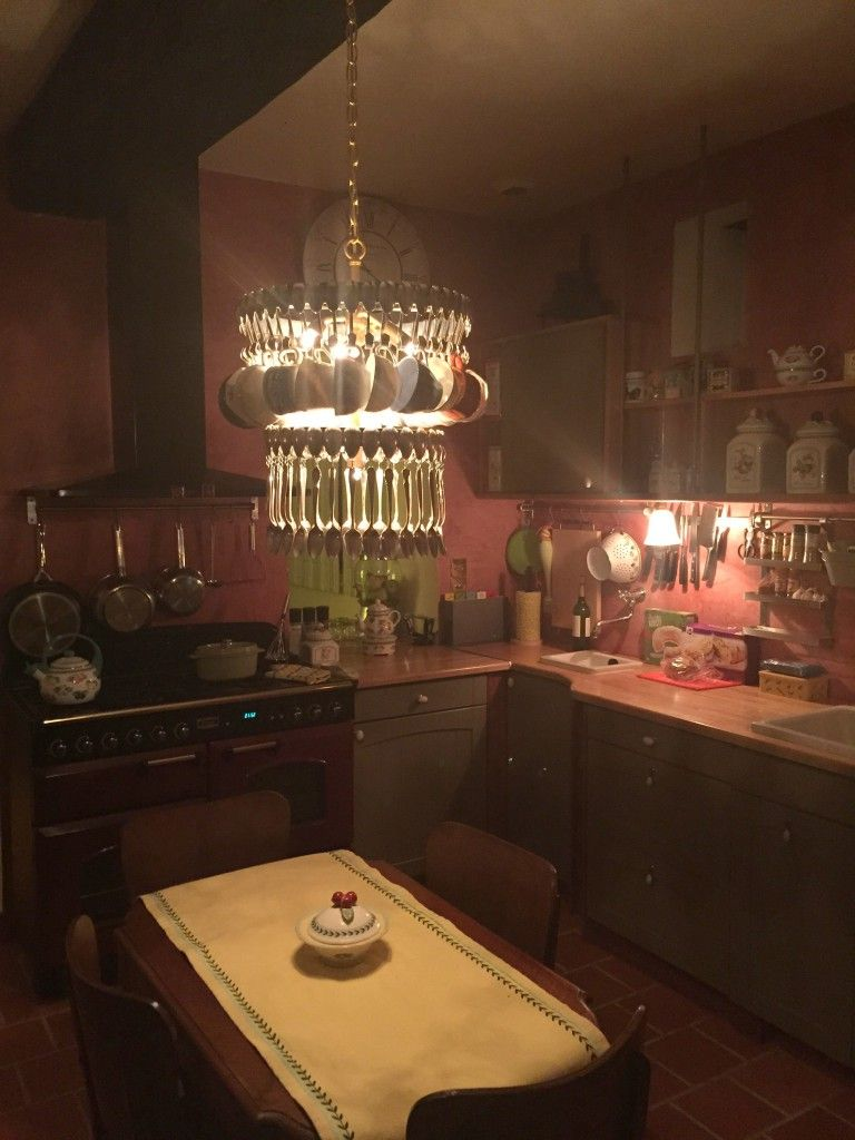 Our Custom Made Vintage Teaspoon And Teacup Chandelier Sparkles In Customer S Kitchen