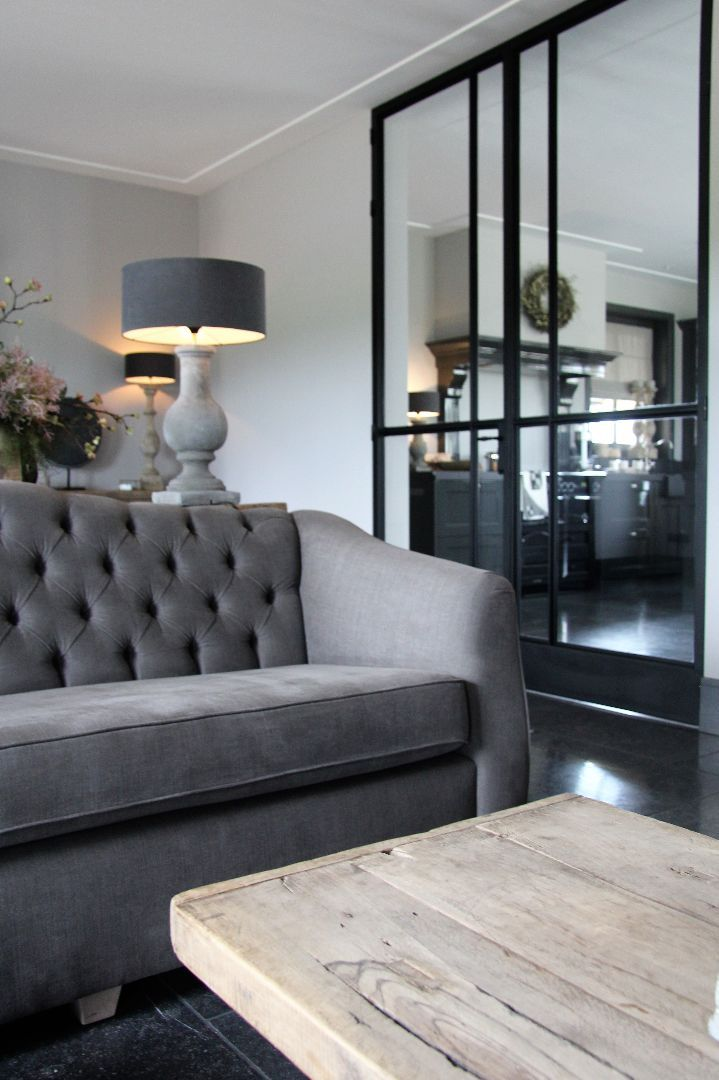 Charmant Bungalow Renovation, Belgian Style, Open Plan Living, Grey Interiors,  Country Chic, Taupe, Armchairs, Apartments, Living Room