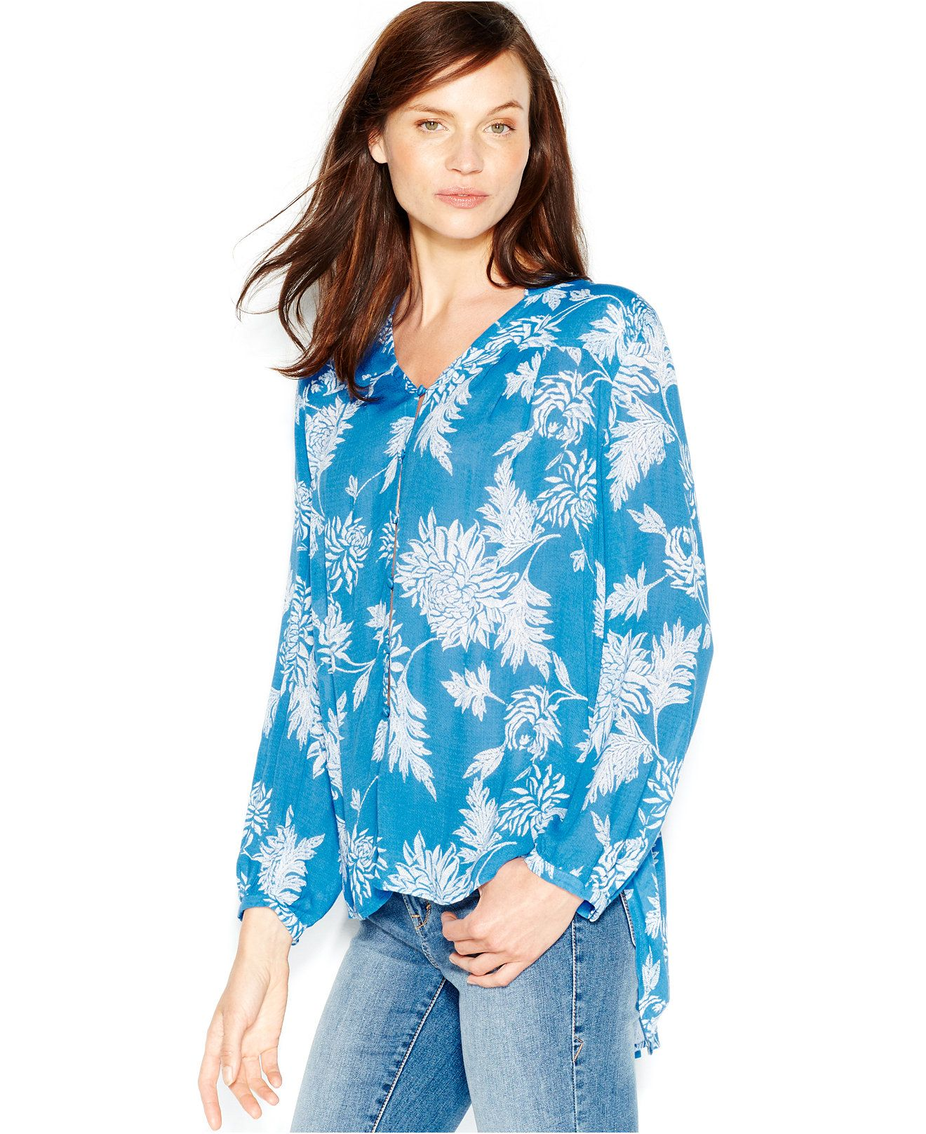 Lucky Brand Printed Peasant Blouse - Lucky Brand Jeans - Women - Macy's